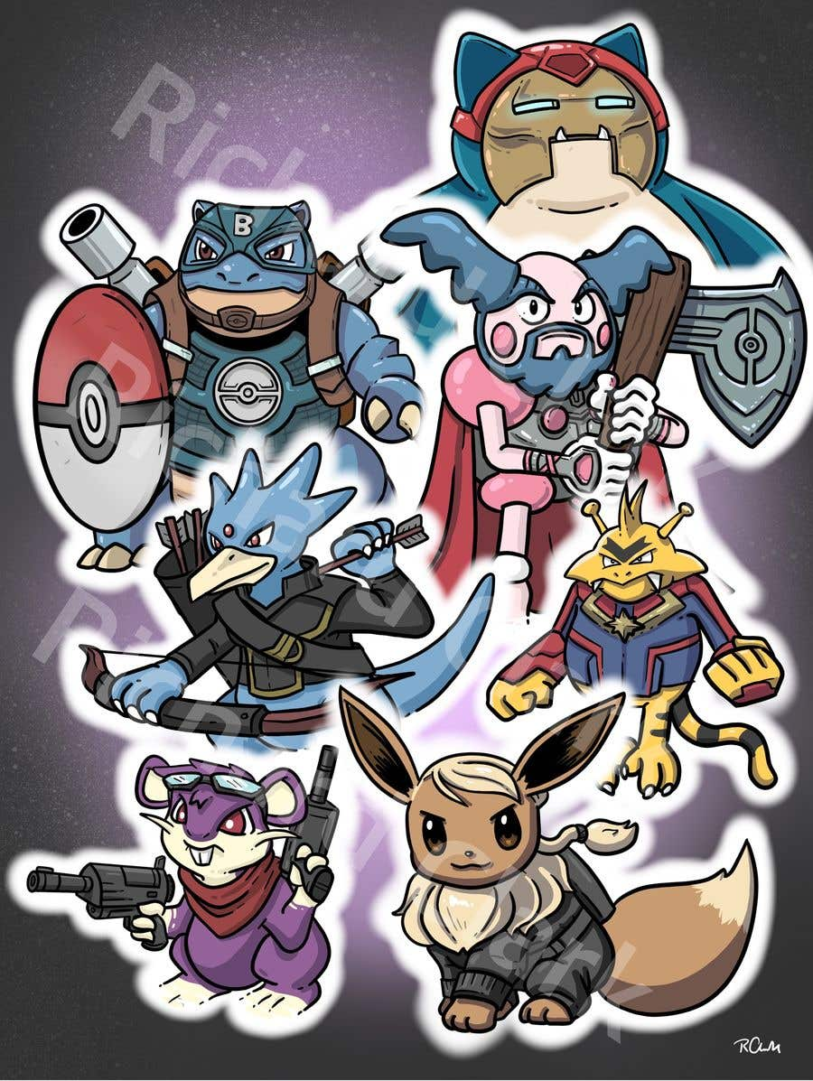 Конкурсная заявка №41 для Create a Pokemon x Avengers Mashup Movie Poster