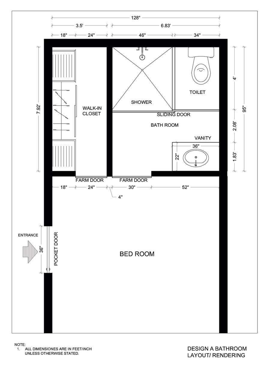 Contest Entry #44 for Design a bathroom Layout/ rendering