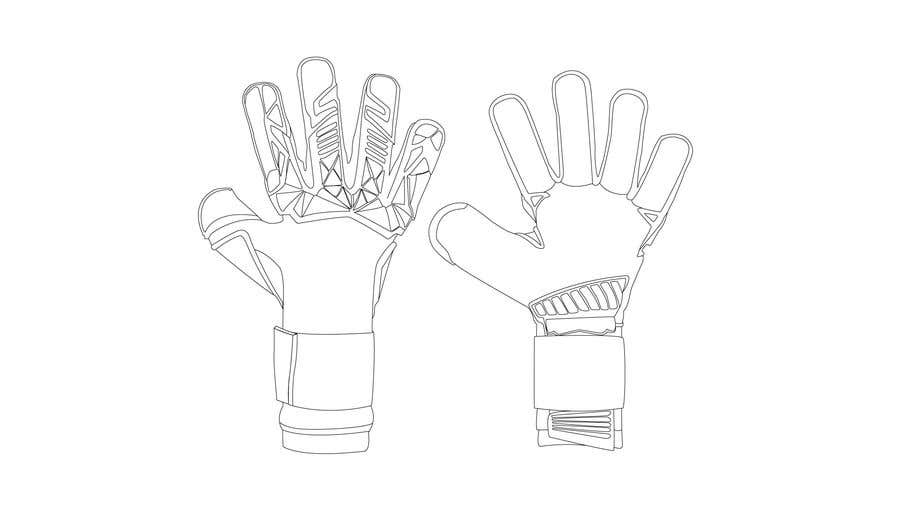 Kilpailutyö #6 kilpailussa I need the photos of the black goalkeeper gloves turned into a detailed vector without the 'T' and 'Titan' logos.