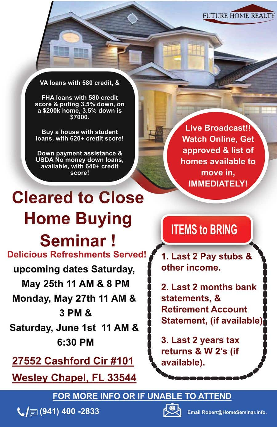 Proposition n°23 du concours build a flyer for upcoming home buyers seminar