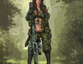 nº 79 pour Female soldier character illustration with background par Onionmaster