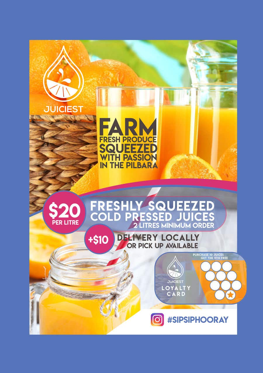 Inscrição nº 10 do Concurso para Clean fresh and bright looking flyer created for cold pressed juices. With a loyalty card buy 10 get the 11th juice free