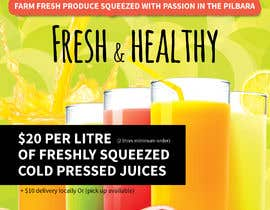 #13 untuk Clean fresh and bright looking flyer created for cold pressed juices. With a loyalty card buy 10 get the 11th juice free oleh leuchi