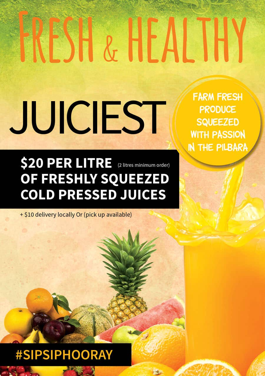 Inscrição nº 15 do Concurso para Clean fresh and bright looking flyer created for cold pressed juices. With a loyalty card buy 10 get the 11th juice free
