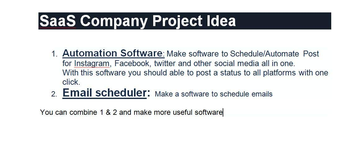 Contest Entry #8 for SaaS Company Project Idea