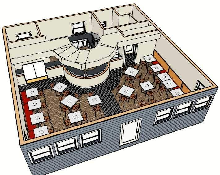 Entry 2 By Ronaaron2 For Coffee Shop Auto Cad Floor Plan 3d Model And Renders Freelancer