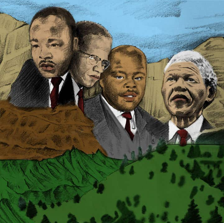 Kilpailutyö #3 kilpailussa This is a image featuring, Marcus Garvey, Nelson Mandela, Martin Luther king and Malcolm X. I would please like a similar image in colour with the logo also incorporated