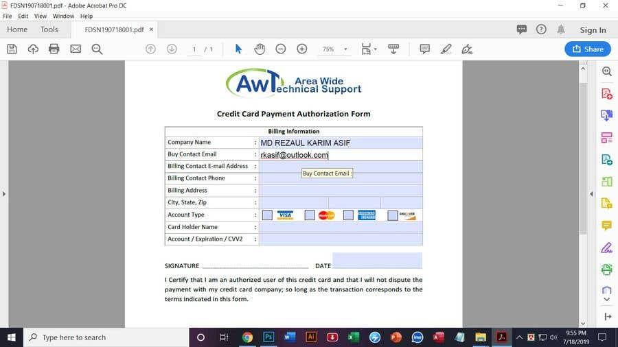 Kilpailutyö #13 kilpailussa Redesign a Credit Card Auth Form