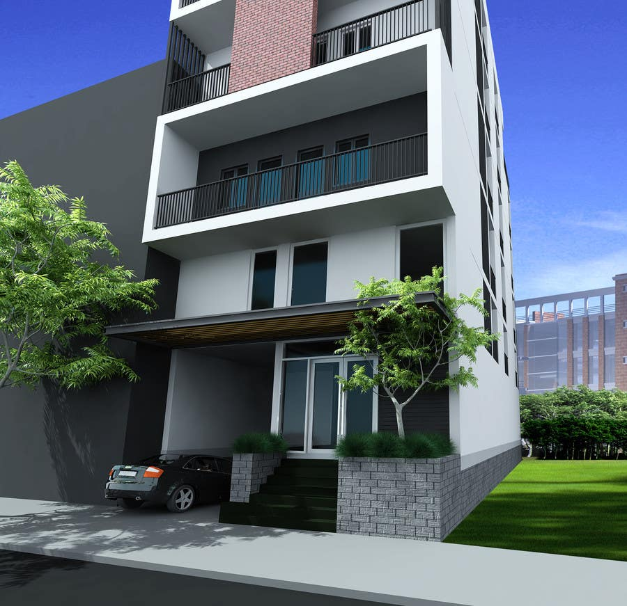 3d apartment design exterior 3d apartment exterior day for Apartment design exterior