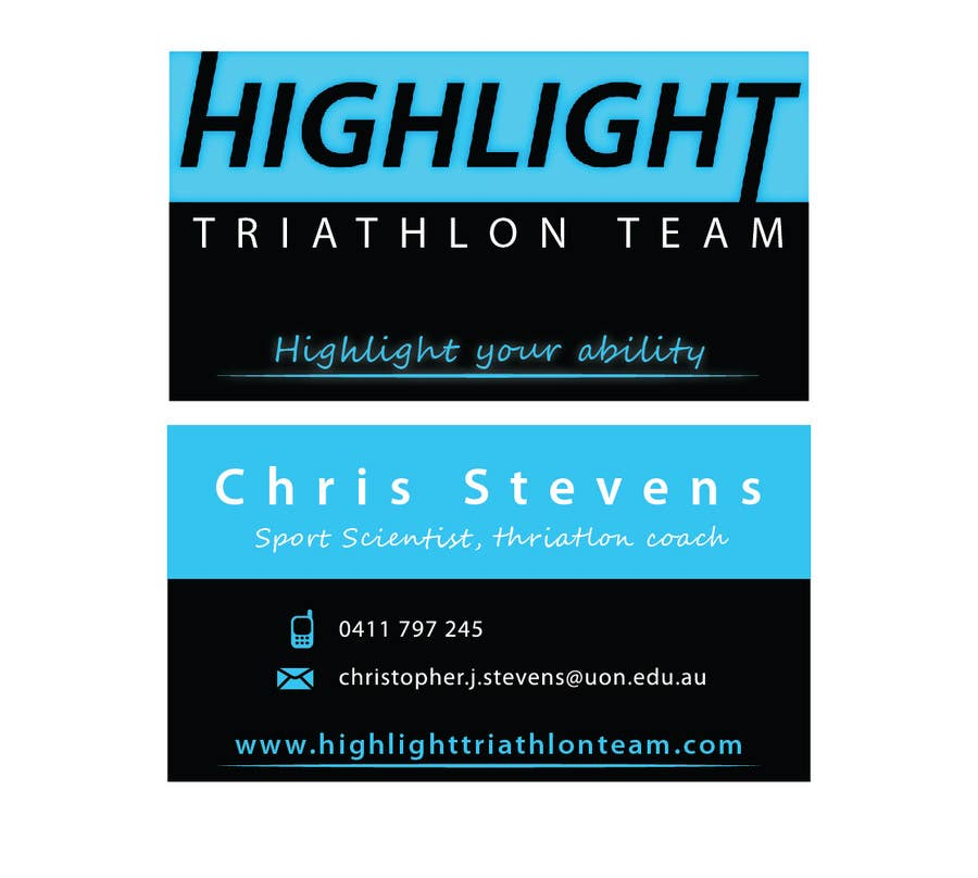 Inscrição nº 52 do Concurso para Business Card Design for Highlight Triathlon Team