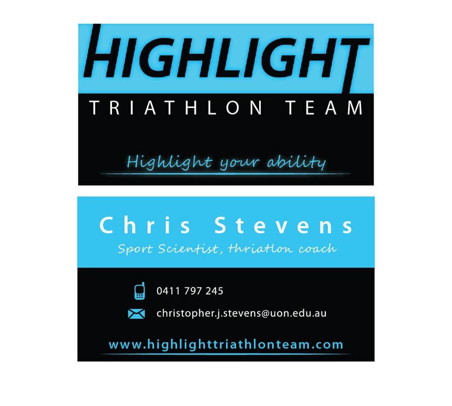 Konkurrenceindlæg #                                        52                                      for                                         Business Card Design for Highlight Triathlon Team