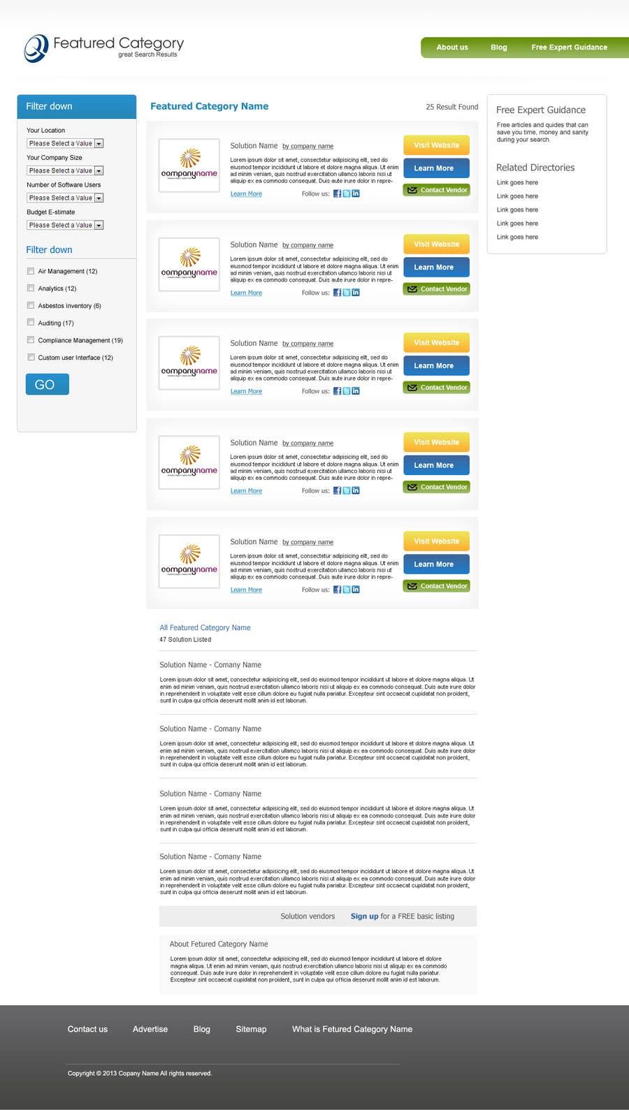 Kilpailutyö #1 kilpailussa Design one Search Results homepage