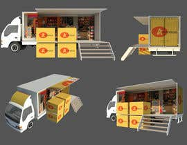 Nro 7 kilpailuun 3D rendering and perspective layout for mobile grocery shop käyttäjältä mikiyastezera