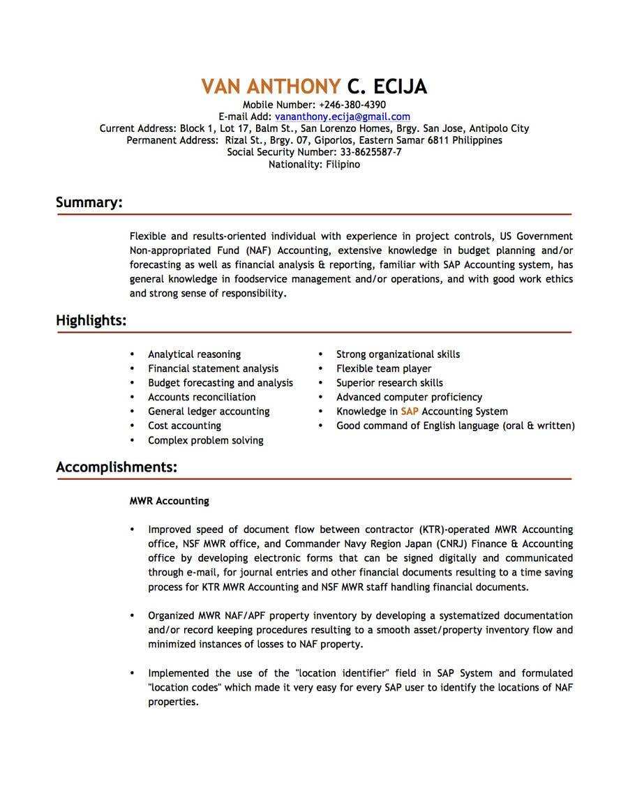 Entry #1 by vanecija for Professional Resume Writing