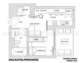#91 untuk Please take a look on attached floor plan. We are looking for a way to move from 1 to 2 room flat oleh arqfernandezr