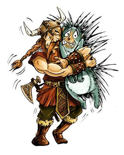 Bài tham dự cuộc thi #60 cho Creative art of someone wearing battle armor hugging a porcupine. Artwork Illustration