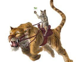 #130 cho Creative Art: A Cat Riding a Big Wild Cat Like a Horse (with Saddle) bởi HUOO0