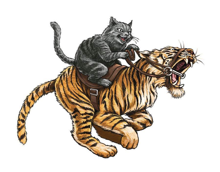 Kilpailutyö #73 kilpailussa Creative Art: A Cat Riding a Big Wild Cat Like a Horse (with Saddle)
