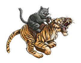 #73 cho Creative Art: A Cat Riding a Big Wild Cat Like a Horse (with Saddle) bởi fabianmarchal