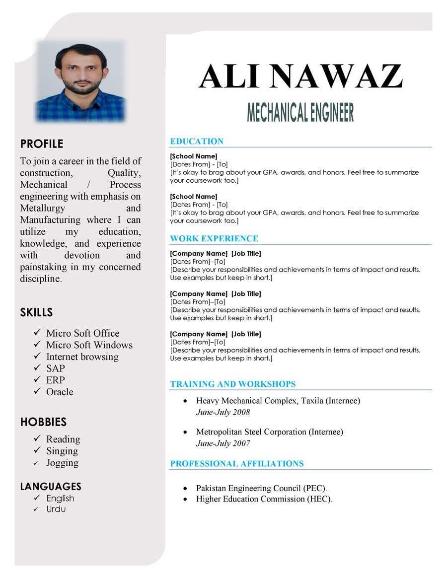Penyertaan Peraduan #22 untuk design resume (simple)