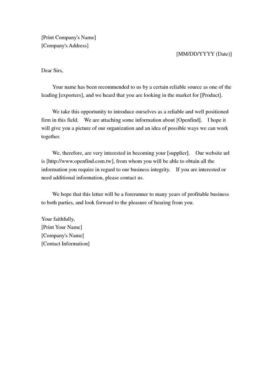 cover letter for introducing your company - business introduction cover letter construction business