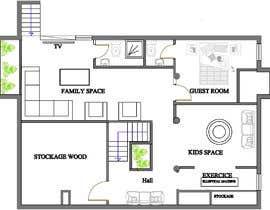 Nro 18 kilpailuun Design Floor plans for finished basement käyttäjältä benzbenz3d