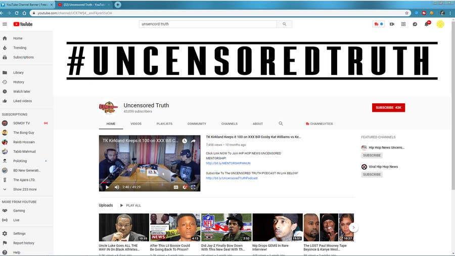 Penyertaan Peraduan #128 untuk YouTube Channel Banner