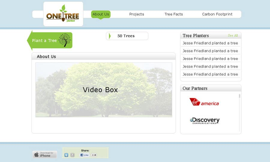 Contest Entry #111 for Website Design for 1 Tree Planted