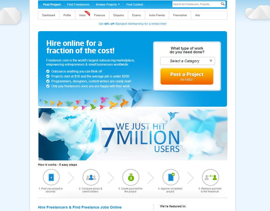 Kilpailutyö #                                        93                                      kilpailussa                                         Banner Design for Freelancer.com homepage!