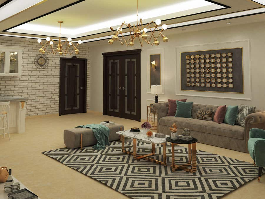 Contest Entry #10 for I want a modern design for my living room and i want to include in it a coffe bar and some wood style