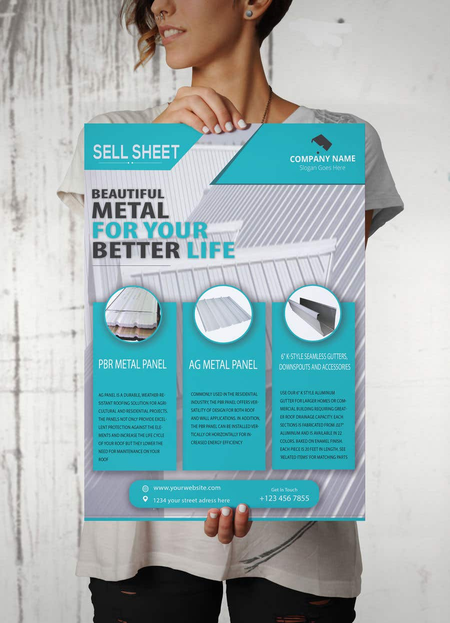 "Penyertaan Peraduan #60 untuk Sell Sheet - PBR Metal Panel, Ag Metal Panel & 6"" K-Style Seamless Gutters"