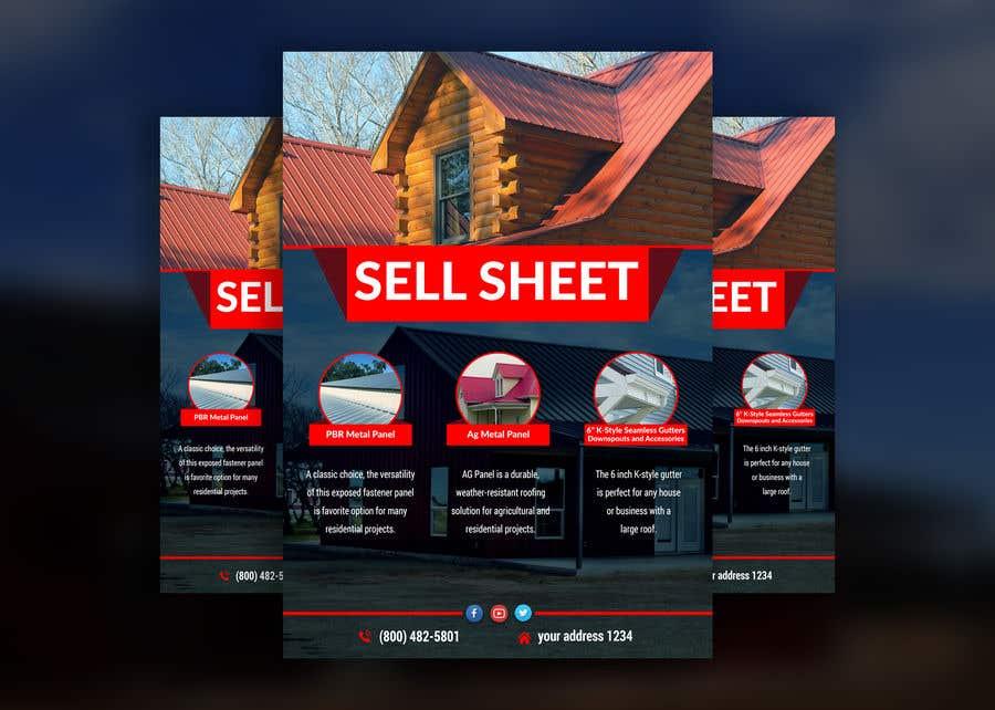 "Penyertaan Peraduan #24 untuk Sell Sheet - PBR Metal Panel, Ag Metal Panel & 6"" K-Style Seamless Gutters"