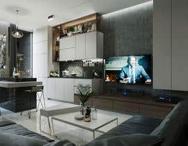 #35 for living room with small kitchen design by indrabudiman80