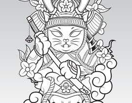 #2 untuk I need vector art of a samurai cat. I will attach photos for inspiration. This will be a mascot for an athlete placed on a rash guard. Thank you! oleh shohanone