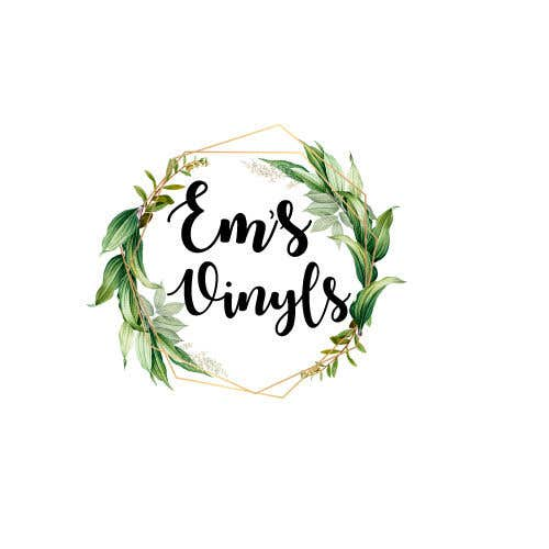 """Penyertaan Peraduan #47 untuk I want a logo that says """"Em's Vinyls"""" I want it to be feminine. I love the colors olive green, and white. I love boho and farmhouse style. I am using this logo for my business of vinyl cups, tshirts, car decals, etc.  - 17/11/2019 12:37 EST"""