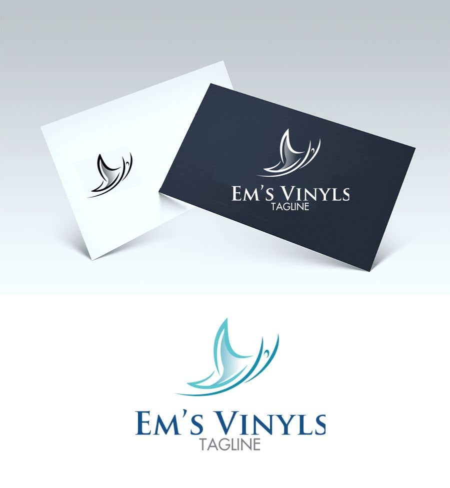 "Конкурсная заявка №21 для I want a logo that says ""Em's Vinyls"" I want it to be feminine. I love the colors olive green, and white. I love boho and farmhouse style. I am using this logo for my business of vinyl cups, tshirts, car decals, etc.  - 17/11/2019 12:37 EST"