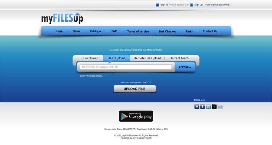 Kilpailutyö #                                        13                                      kilpailussa                                         Website Design for Upload Files website