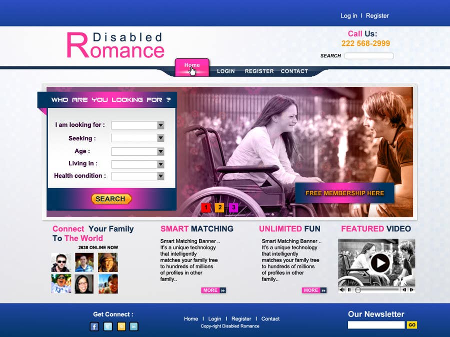 Bài tham dự cuộc thi #32 cho Website Design for Dating website homepage