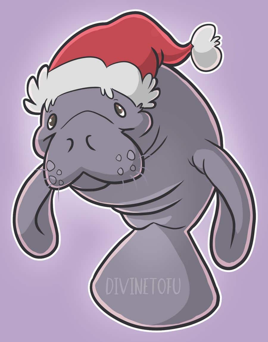 Konkurrenceindlæg #27 for T-shirt design manatee with Christmas hat