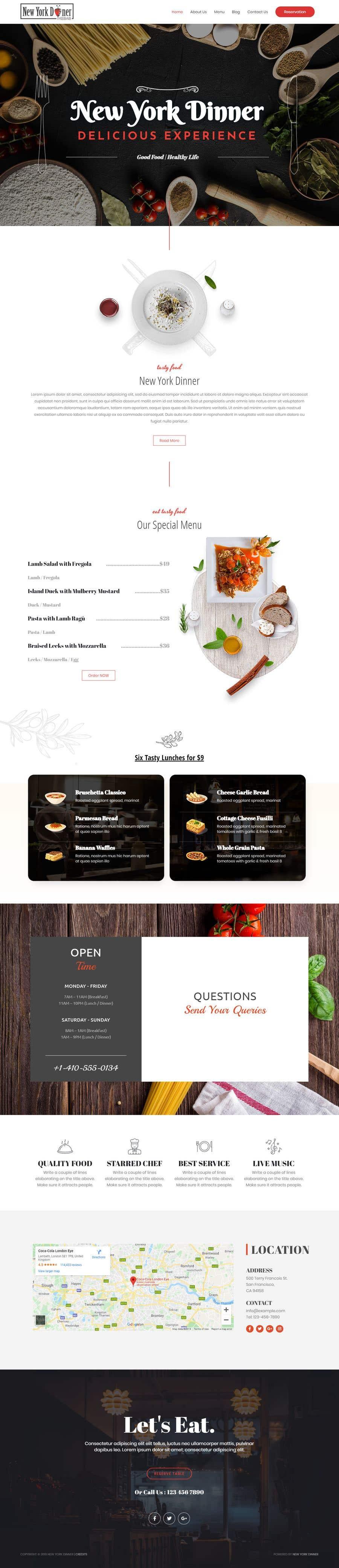 Kilpailutyö #95 kilpailussa Restaurant website