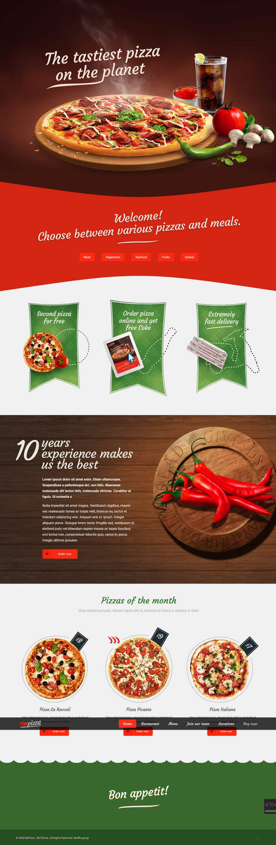 Kilpailutyö #110 kilpailussa Restaurant website
