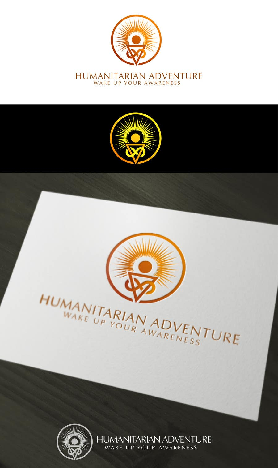 Proposition n°                                        52                                      du concours                                         LOGO representing 'waking up', 'awareness', 'knowledge' for humanitarian adventure