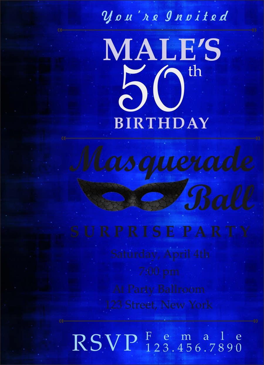 Contest Entry 9 For 50th Birthday Masquerade Ball Invitation Male