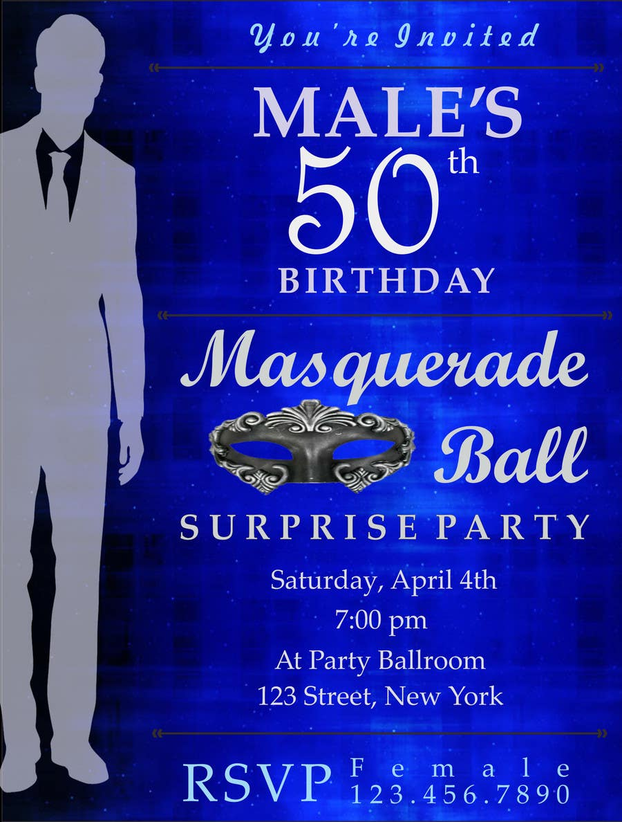 Contest Entry 13 For 50th Birthday Masquerade Ball Invitation Male