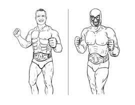 nº 7 pour caricature drawing of two wrestlers and one with my friends face and the other with mask par manesomnath1