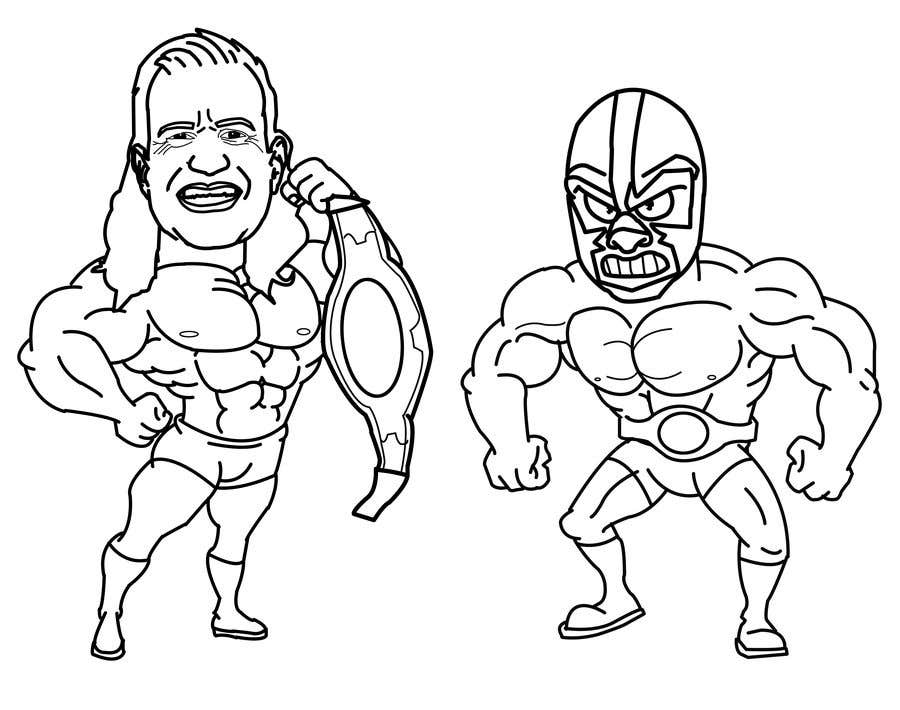 Proposition n°                                        8                                      du concours                                         caricature drawing of two wrestlers and one with my friends face and the other with mask