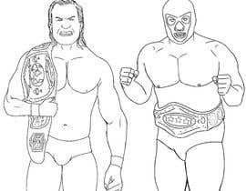 nº 6 pour caricature drawing of two wrestlers and one with my friends face and the other with mask par aymanissa