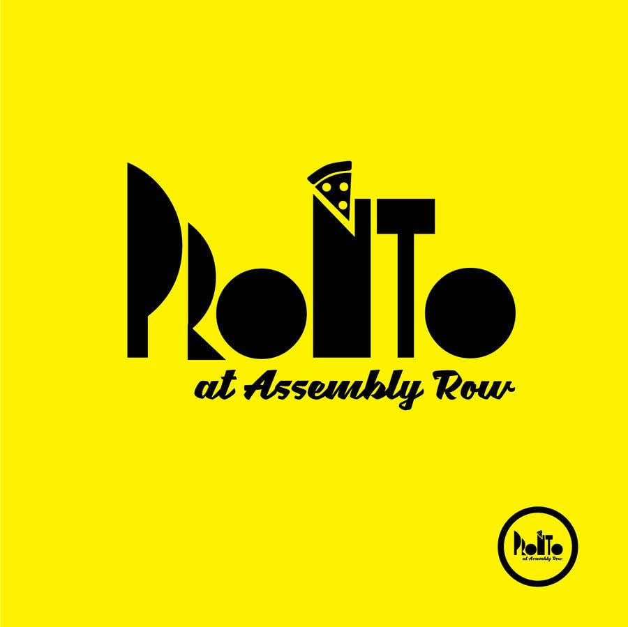 Proposition n°                                        131                                      du concours                                         logo in bright yello black and white only.   pizza / sandwich shop . name is Pronto at Assembly Row