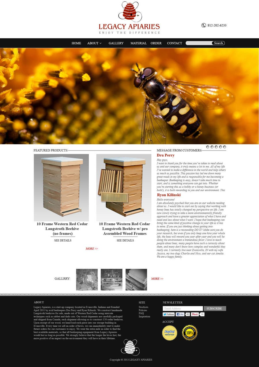 Konkurrenceindlæg #                                        19                                      for                                         Website Design for newly designed beehive eCommerce site