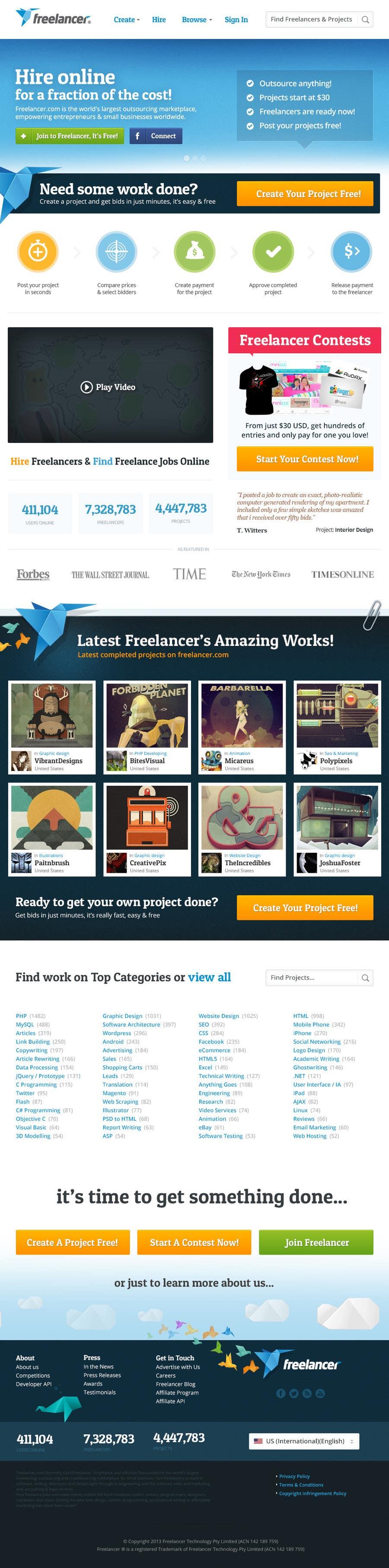 Website Design Contest Entry #265 for Freelancer.com contest! Design our Homepage!